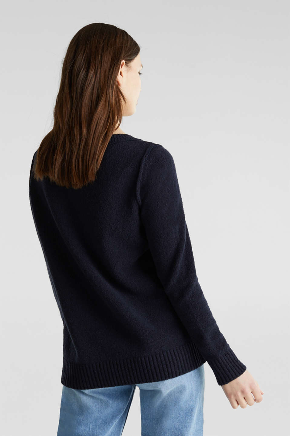 Comfy and stretchy bouclé jumper, NAVY, detail image number 3