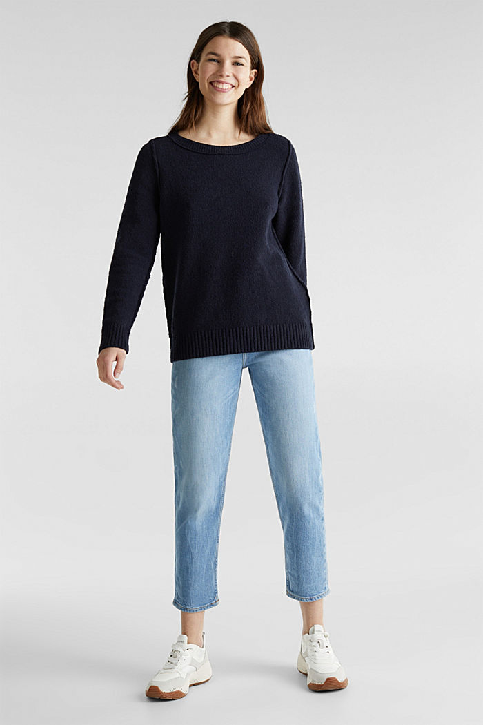 Comfy and stretchy bouclé jumper, NAVY, detail image number 1