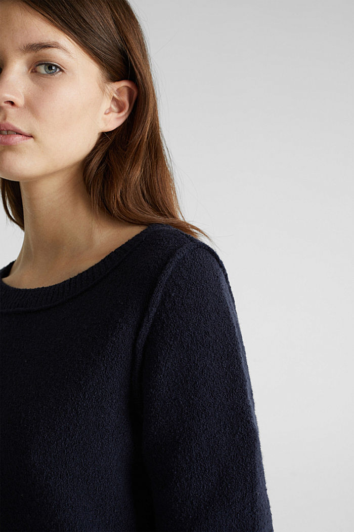 Comfy and stretchy bouclé jumper, NAVY, detail image number 2