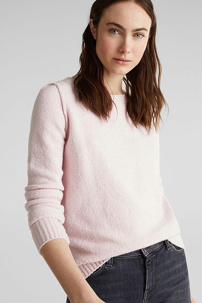 Bouclé-Pullover mit Stretchkomfort, LIGHT PINK, detail image number 0
