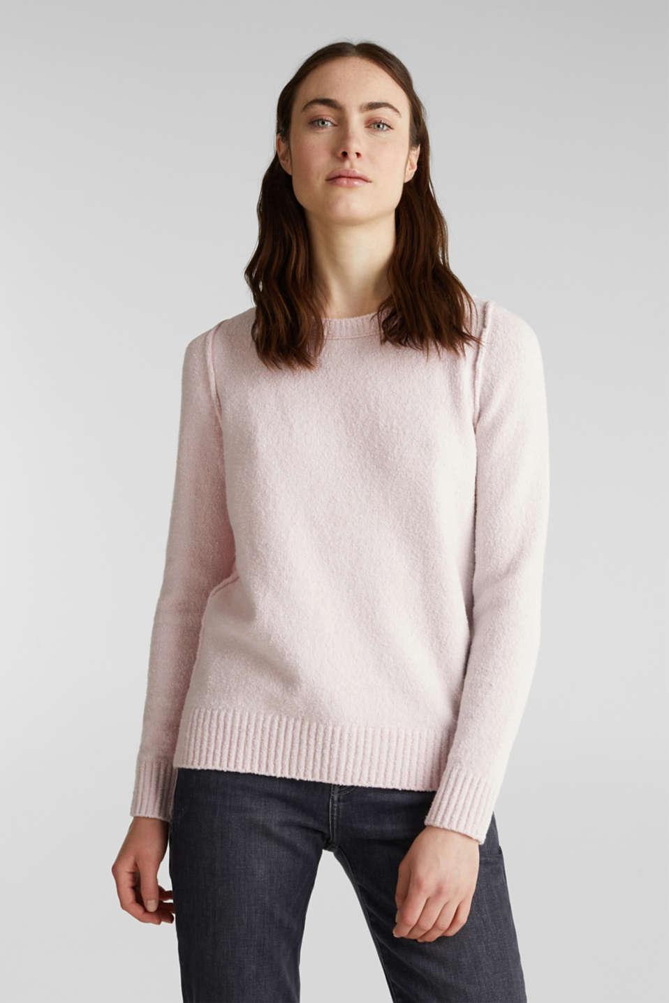 Comfy and stretchy bouclé jumper, LIGHT PINK, detail image number 6