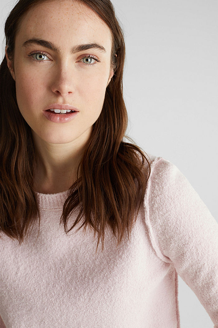 Bouclé-Pullover mit Stretchkomfort, LIGHT PINK, detail image number 2