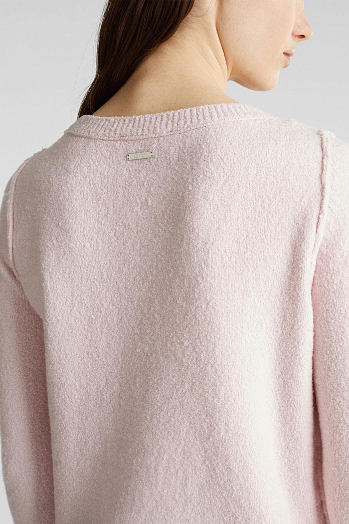 Bouclé-Pullover mit Stretchkomfort, LIGHT PINK, detail image number 5