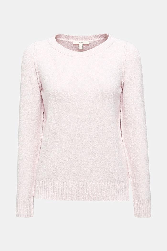 Bouclé-Pullover mit Stretchkomfort, LIGHT PINK, detail image number 7