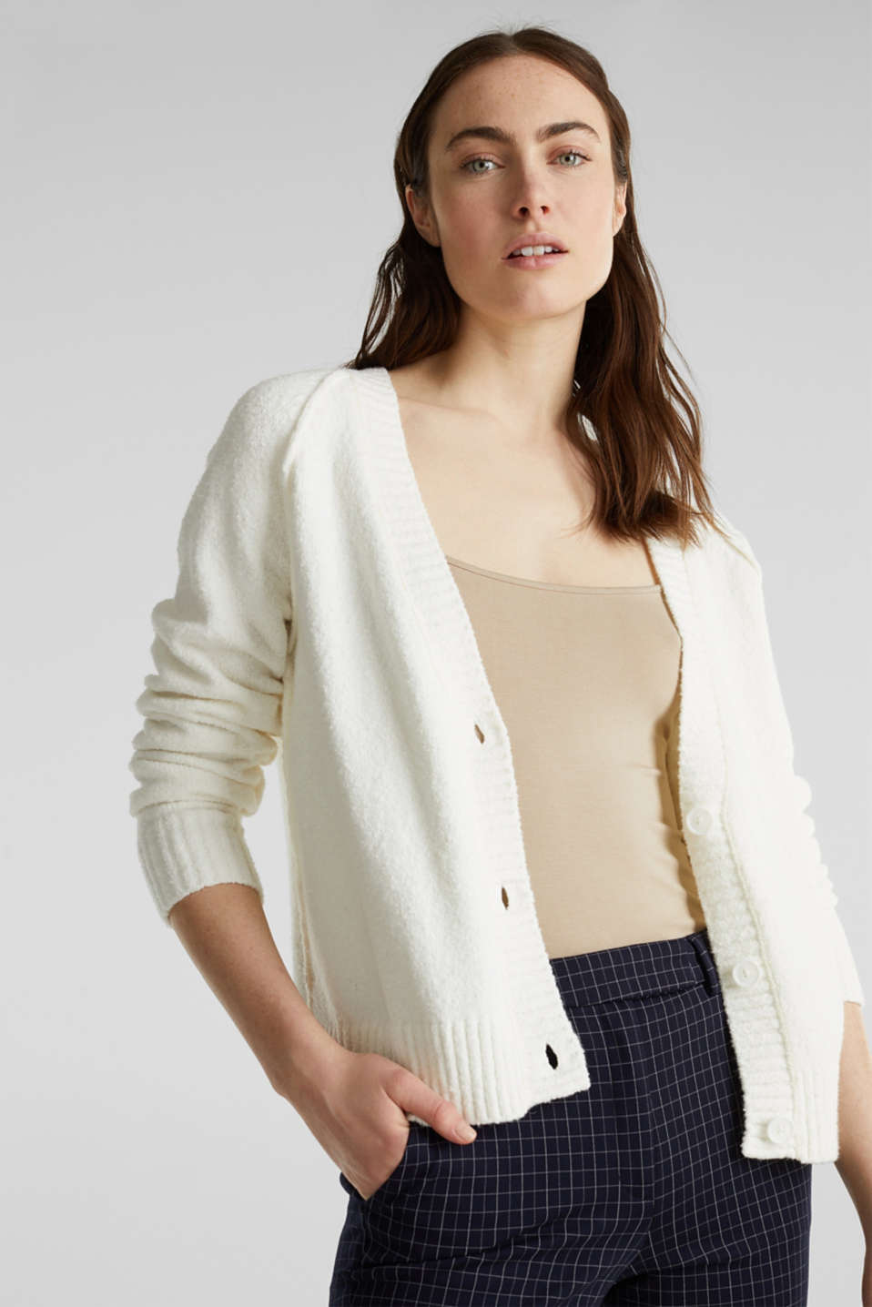 Stretch bouclé cardigan, OFF WHITE, detail image number 0