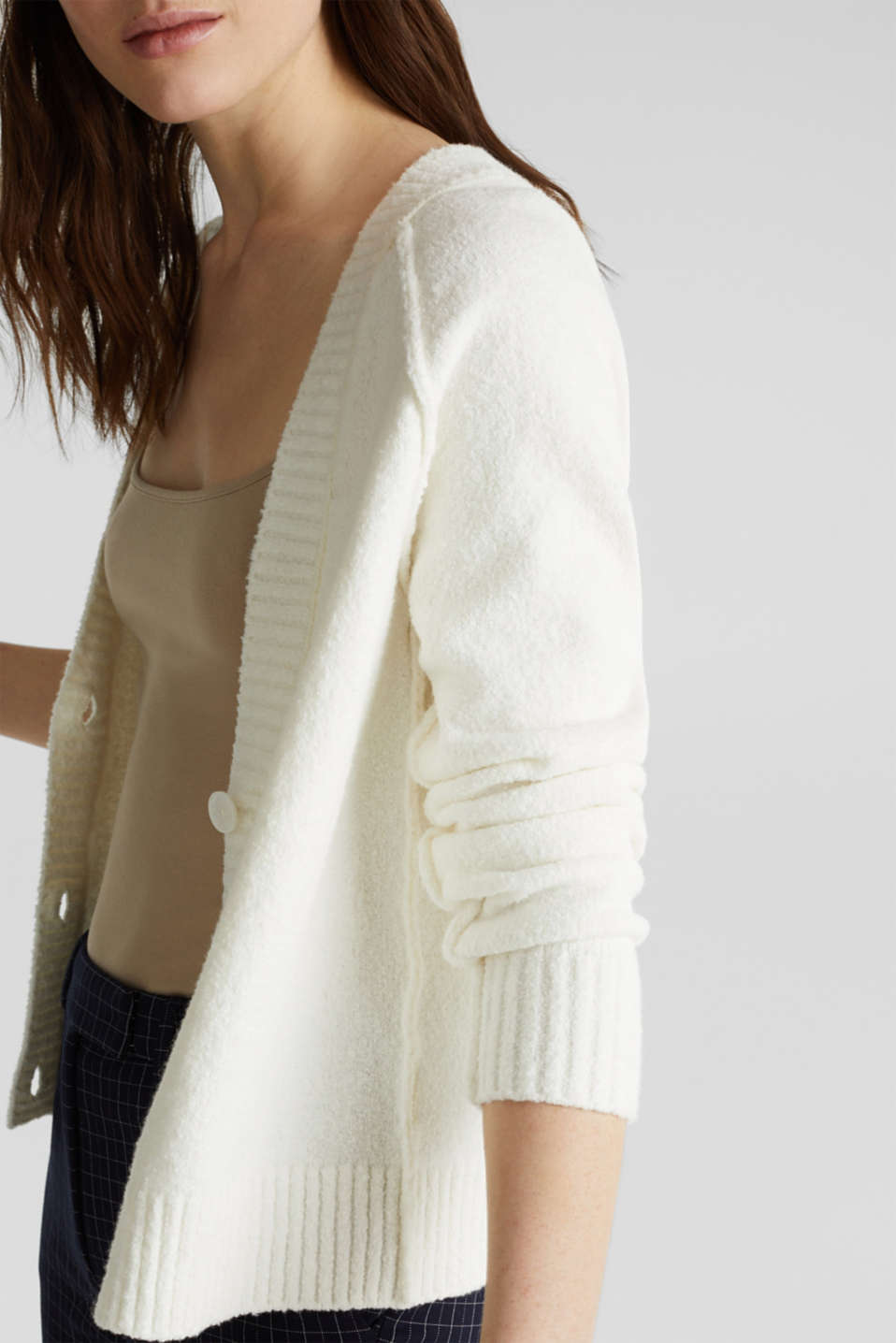 Stretch bouclé cardigan, OFF WHITE, detail image number 2