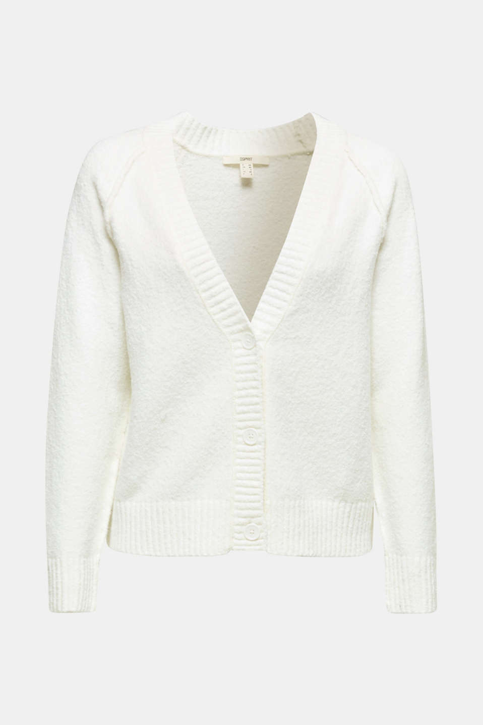 Stretch bouclé cardigan, OFF WHITE, detail image number 7