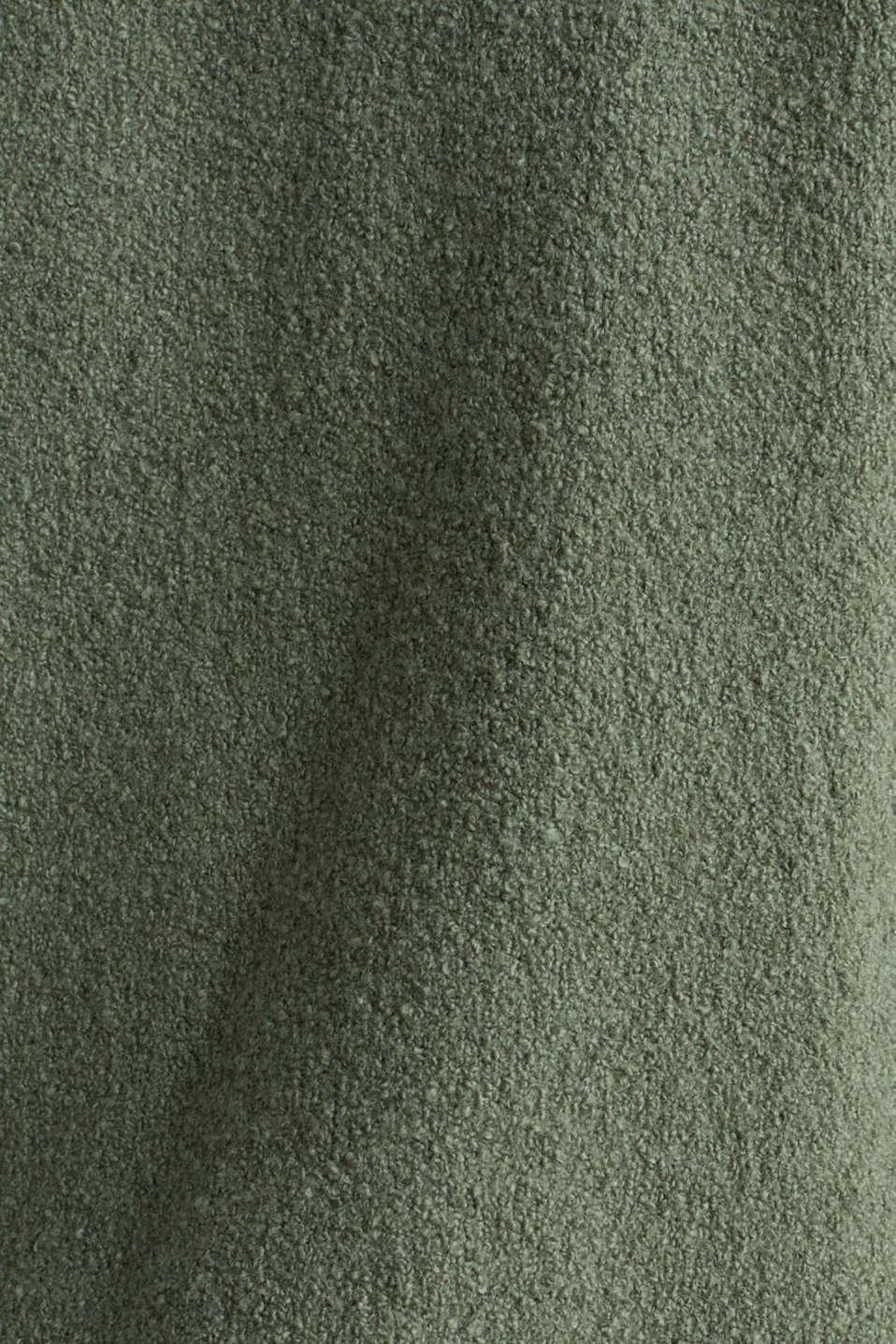 Stretch bouclé cardigan, KHAKI GREEN, detail image number 4