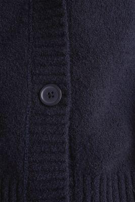 Stretch bouclé cardigan, NAVY, detail