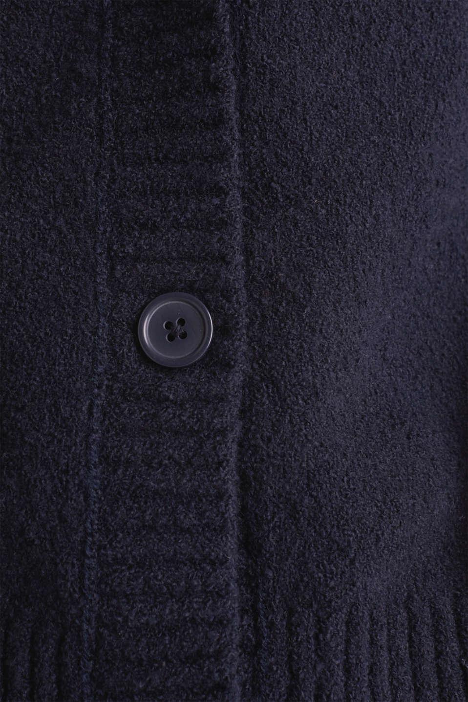 Stretch bouclé cardigan, NAVY, detail image number 4