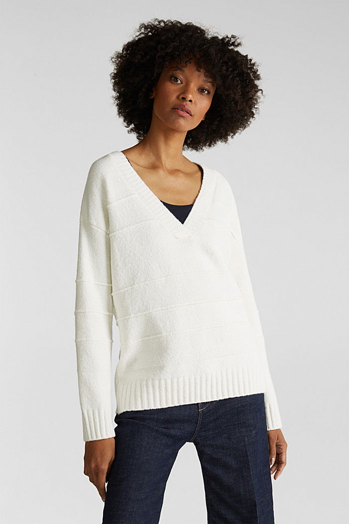 Stretch bouclé jumper with textured stripes, OFF WHITE, detail image number 0