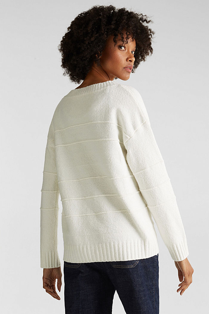 Stretch bouclé jumper with textured stripes, OFF WHITE, detail image number 2