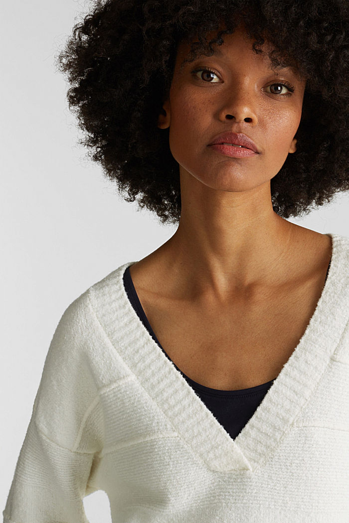 Stretch bouclé jumper with textured stripes, OFF WHITE, detail image number 5
