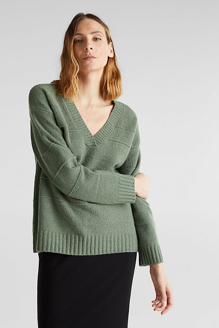 Stretch bouclé jumper with textured stripes, KHAKI GREEN, detail image number 0