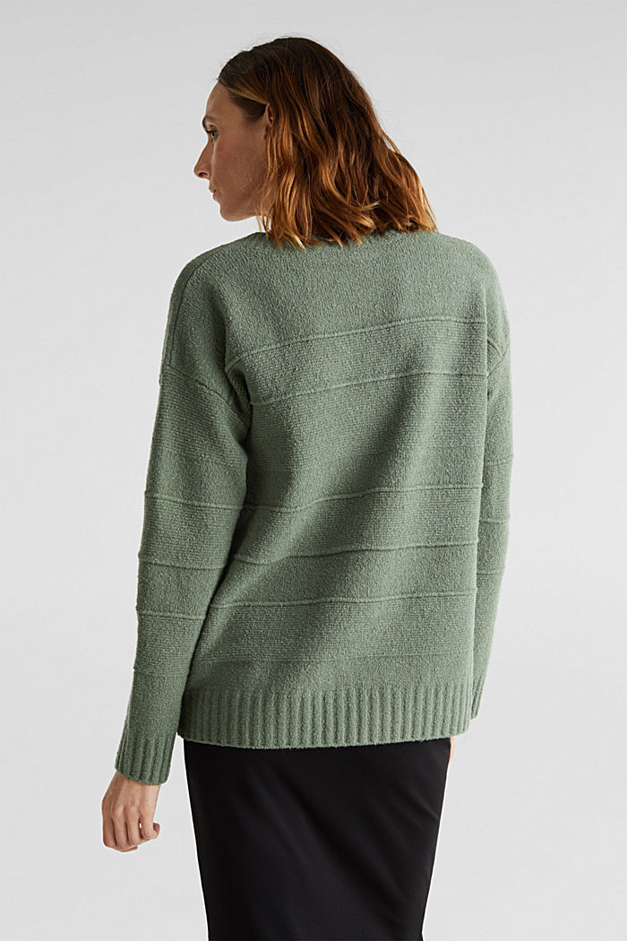 Stretch bouclé jumper with textured stripes, KHAKI GREEN, detail image number 3