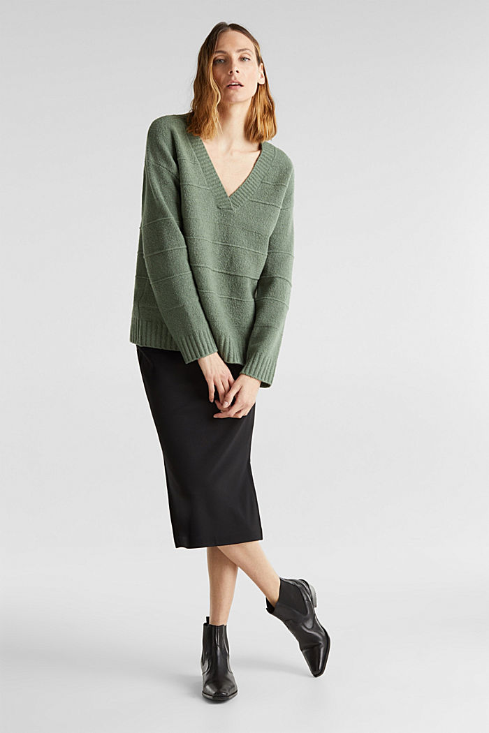 Stretch bouclé jumper with textured stripes, KHAKI GREEN, detail image number 1