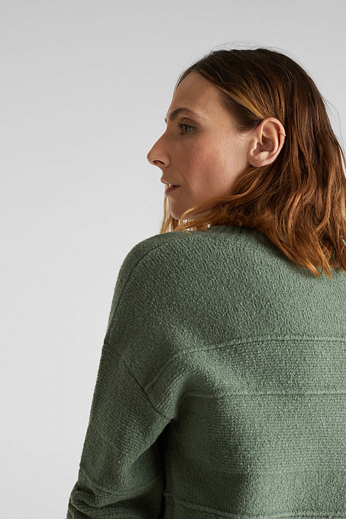 Stretch bouclé jumper with textured stripes, KHAKI GREEN, detail image number 2