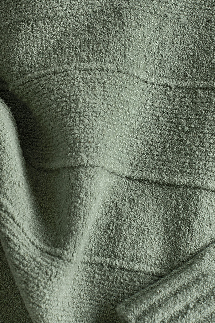 Stretch bouclé jumper with textured stripes, KHAKI GREEN, detail image number 4
