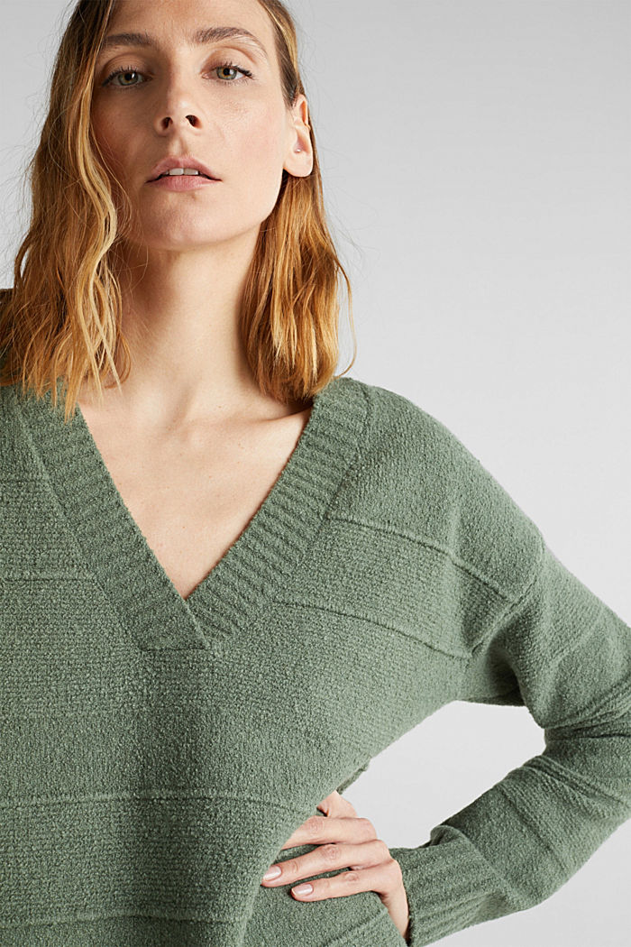 Stretch bouclé jumper with textured stripes, KHAKI GREEN, detail image number 5