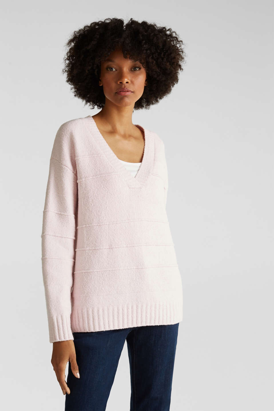 Stretch bouclé jumper with textured stripes, LIGHT PINK, detail image number 0