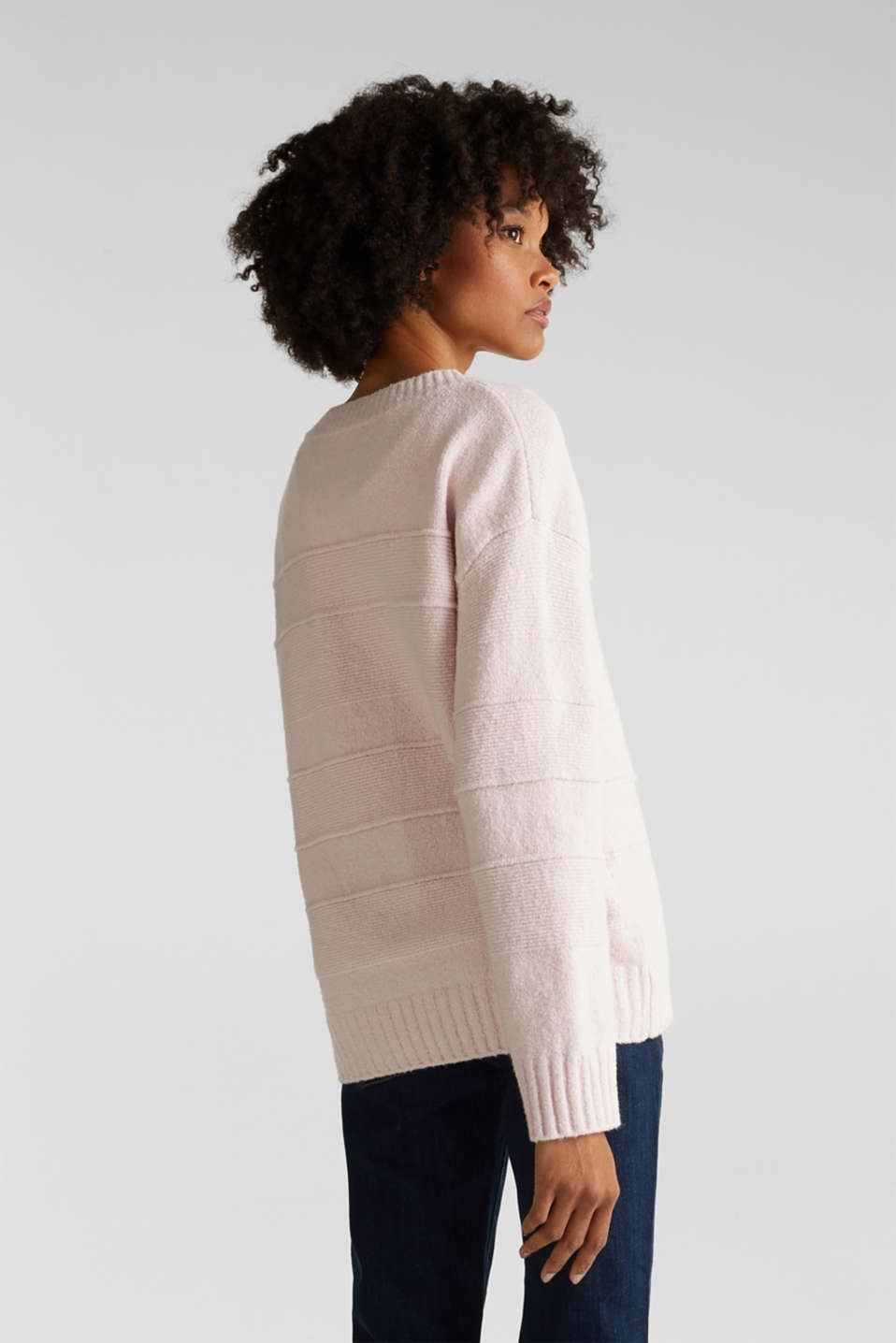 Stretch bouclé jumper with textured stripes, LIGHT PINK, detail image number 2