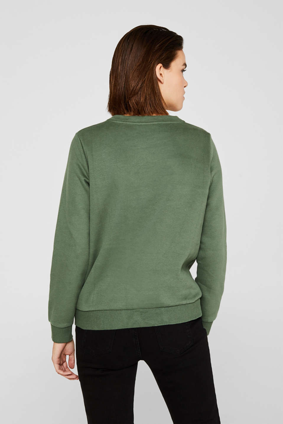 Logo sweatshirt with a feminine neckline, KHAKI GREEN, detail image number 3