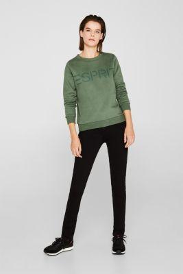 Logo sweatshirt in blended cotton, KHAKI GREEN, detail