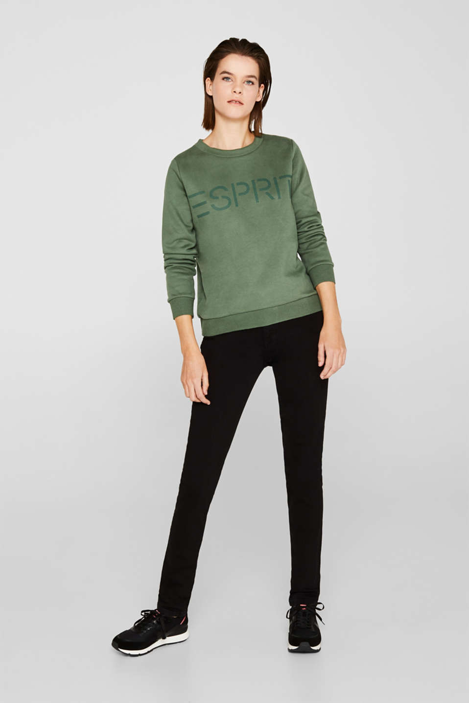 Logo sweatshirt with a feminine neckline, KHAKI GREEN, detail