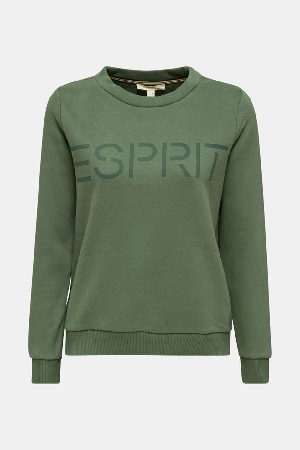 Logo sweatshirt with a feminine neckline, KHAKI GREEN, detail image number 6