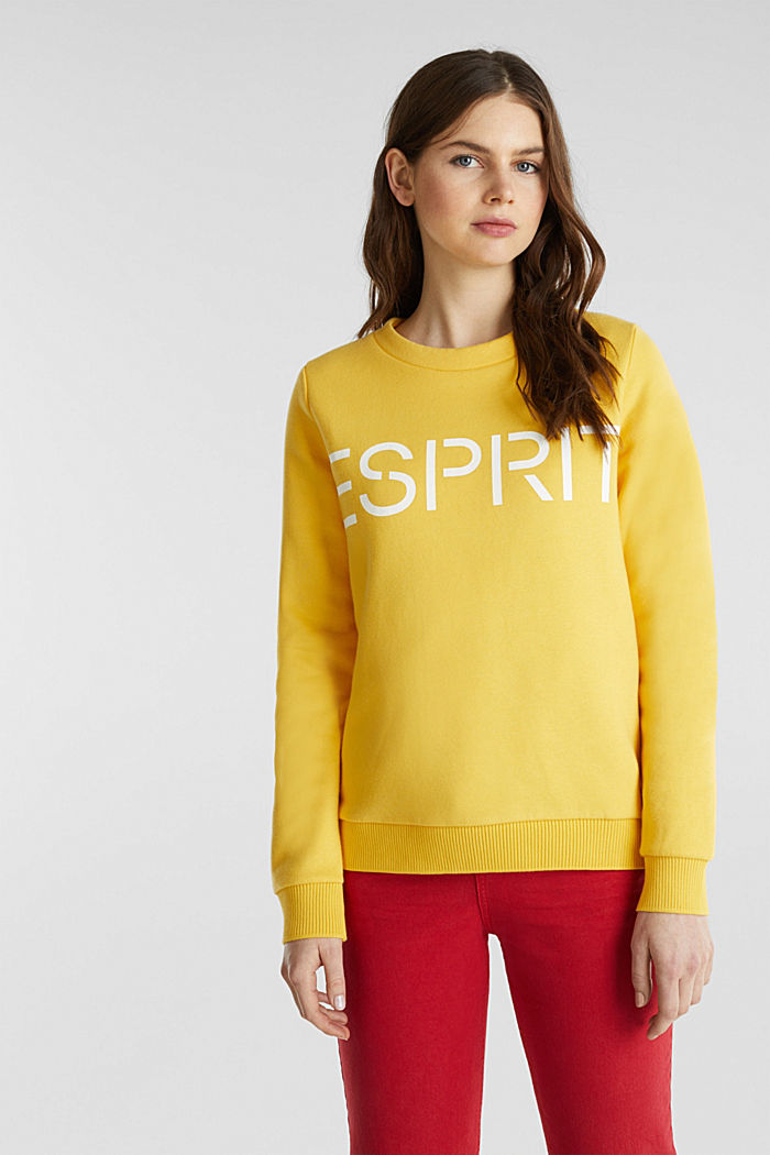 Logo sweatshirt in blended cotton, YELLOW, detail image number 0