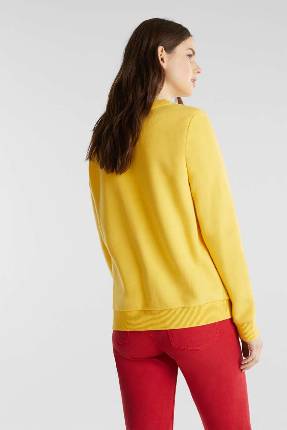 Logo sweatshirt in blended cotton, YELLOW 3, detail image number 3