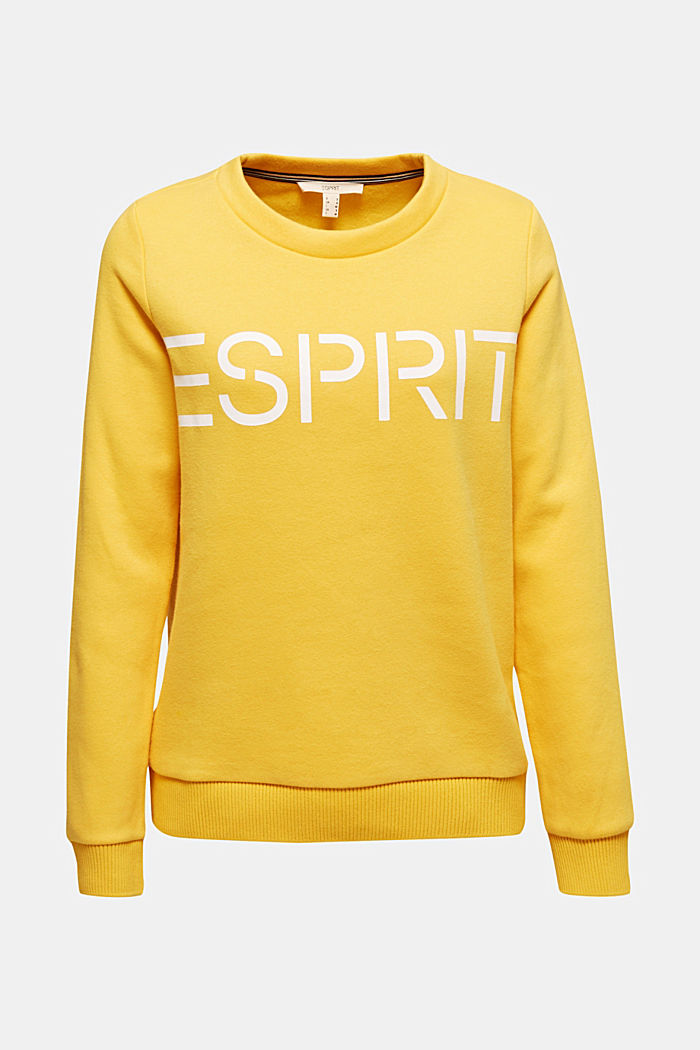 Logo sweatshirt in blended cotton, YELLOW, detail image number 5