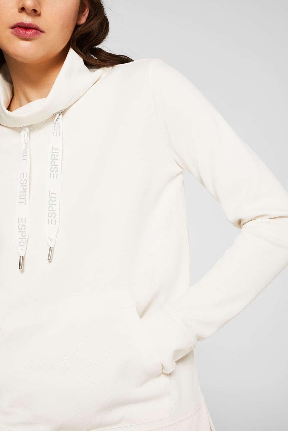 Piqué texture sweatshirt, OFF WHITE, detail image number 2