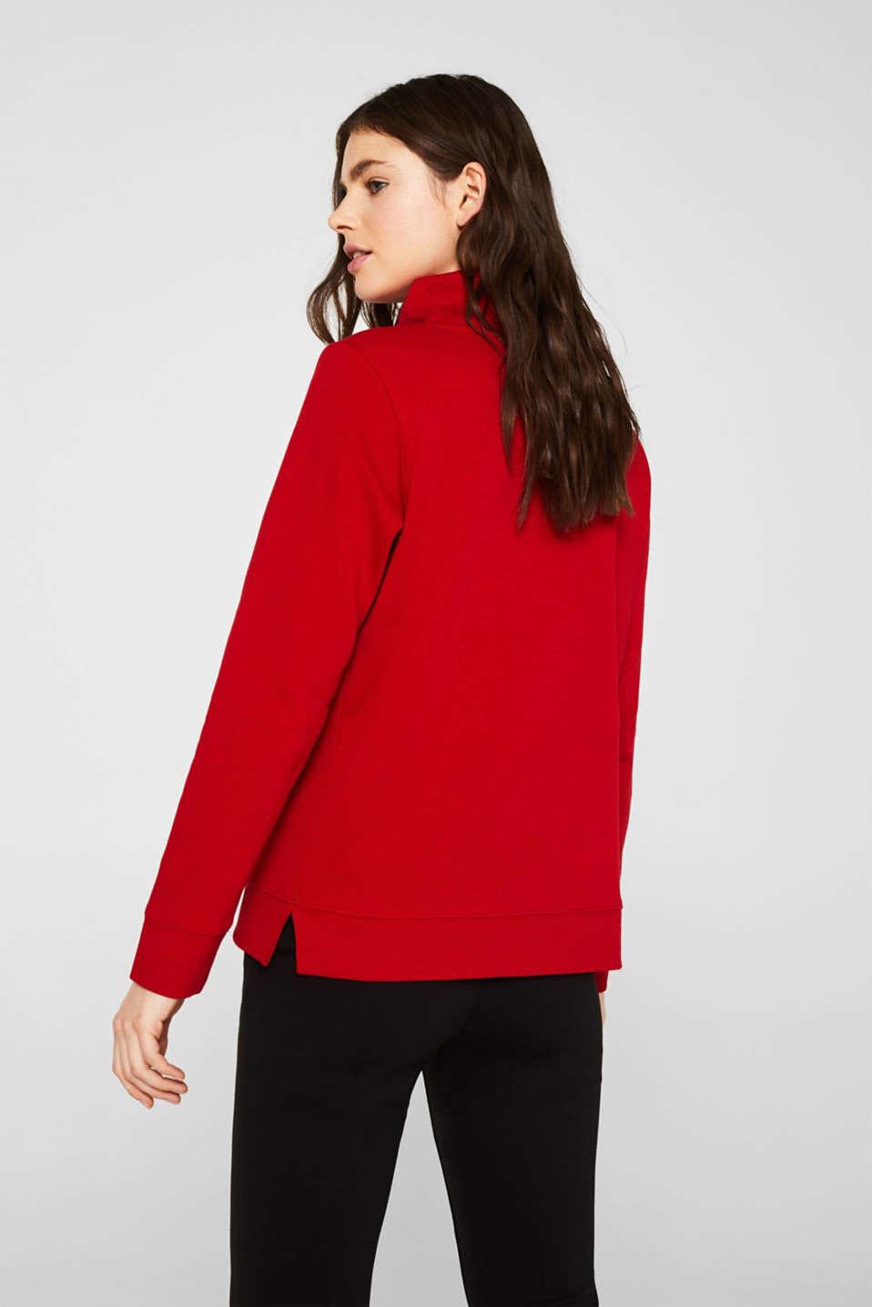 Piqué texture sweatshirt, DARK RED, detail image number 3