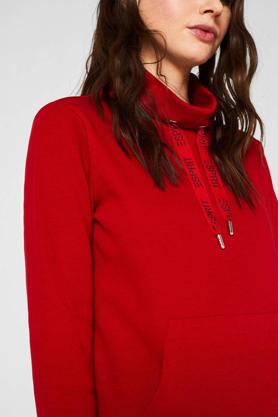 Piqué texture sweatshirt, DARK RED, detail image number 2