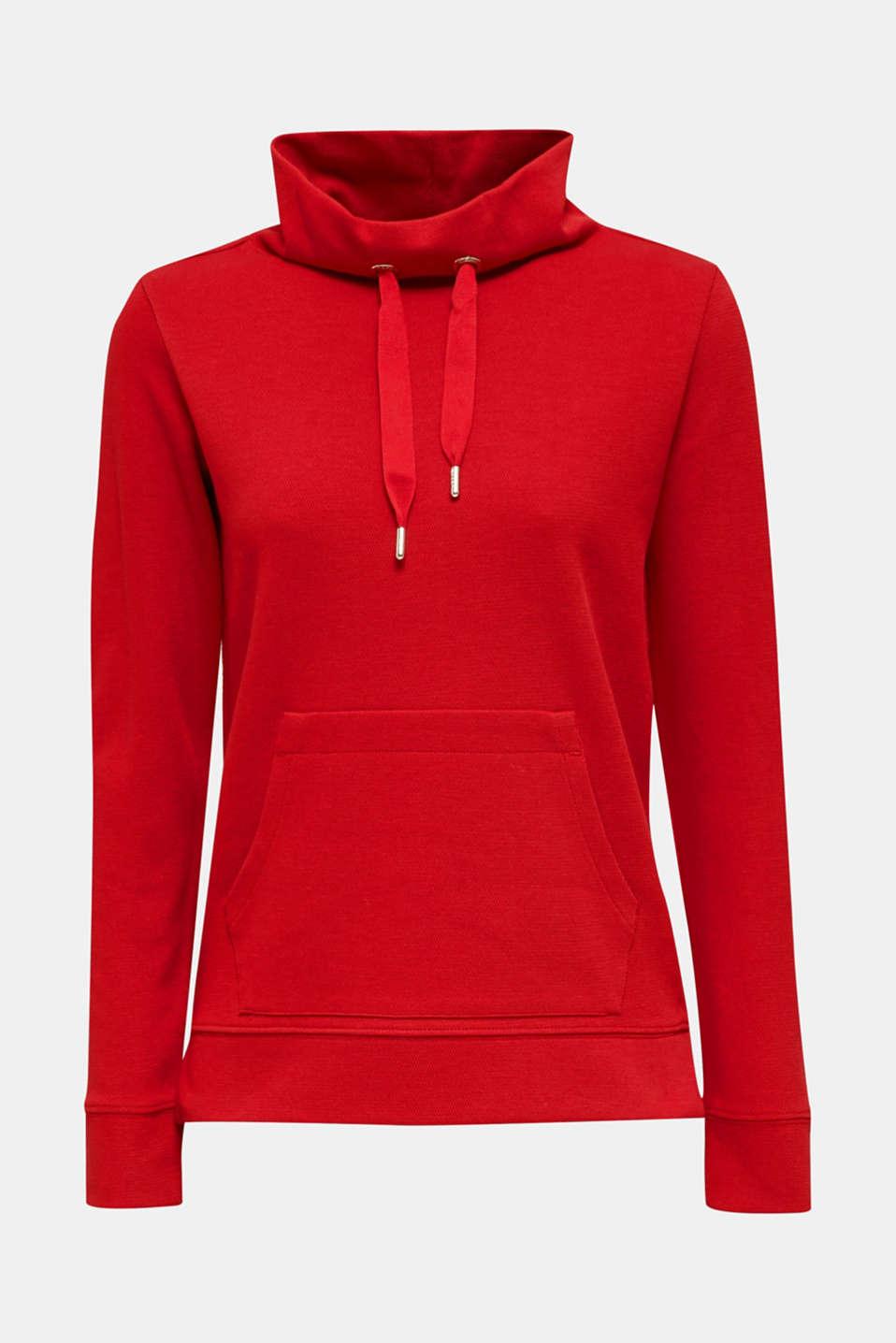 Piqué texture sweatshirt, DARK RED, detail image number 5