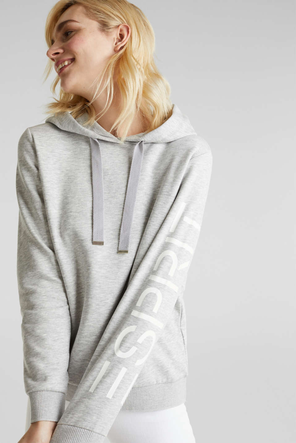 Melange hoodie with a logo print, LIGHT GREY 5, detail image number 0