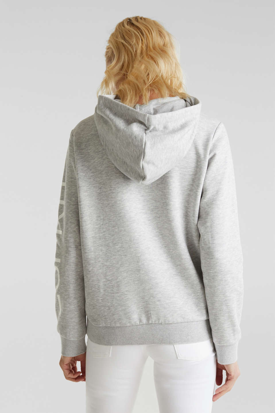 Melange hoodie with a logo print, LIGHT GREY 5, detail image number 3