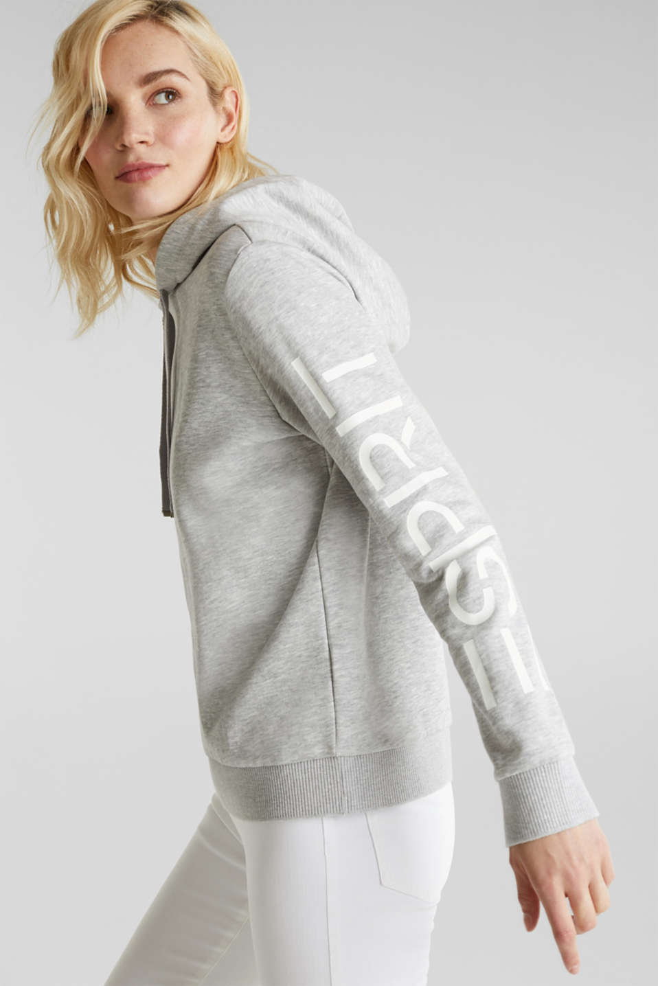 Melange hoodie with a logo print, LIGHT GREY 5, detail image number 5