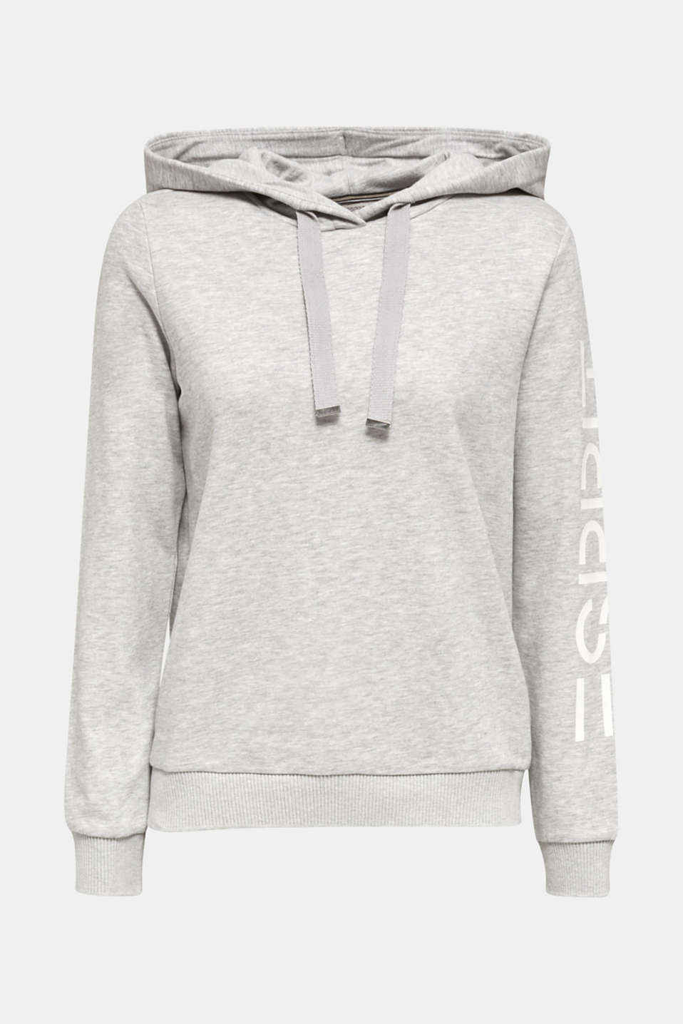 Melange hoodie with a logo print, LIGHT GREY 5, detail image number 7