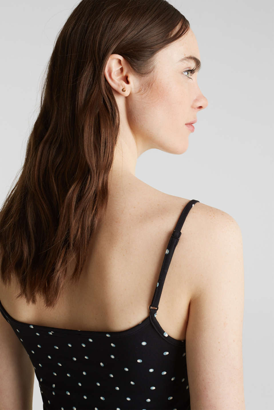 Spaghetti strap top with a print, BLACK, detail image number 5