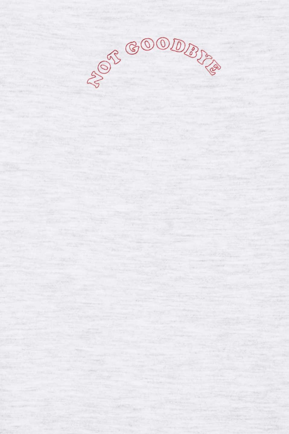 Melange top with a velvet print, LIGHT GREY 5, detail image number 4