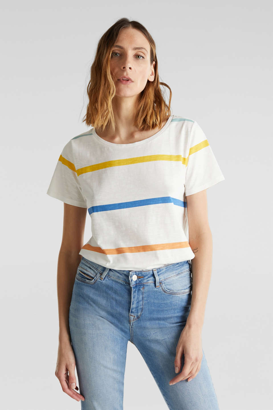 Slub top with stripes, 100% cotton