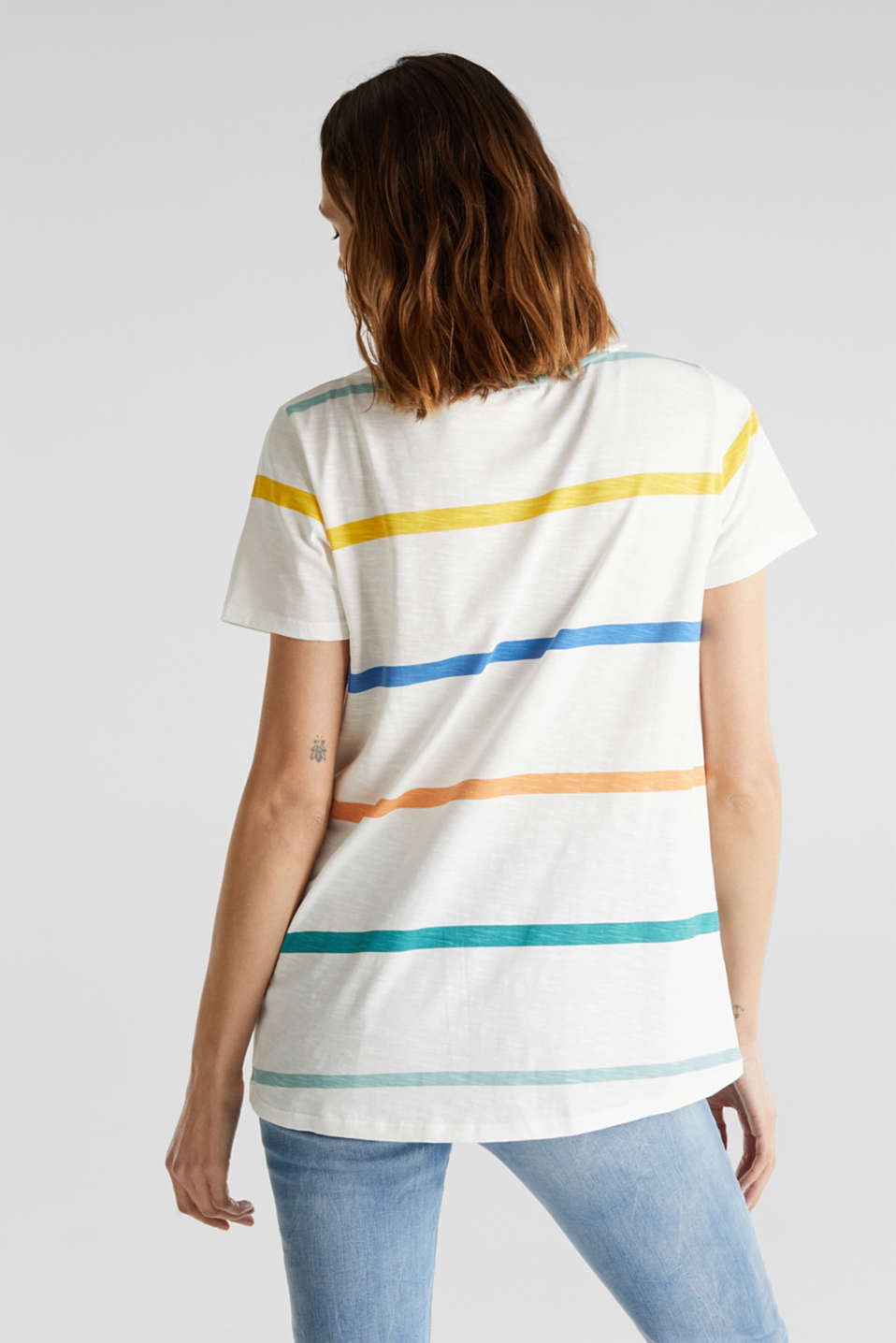 Striped T-shirt, 100% cotton, OFF WHITE, detail image number 2