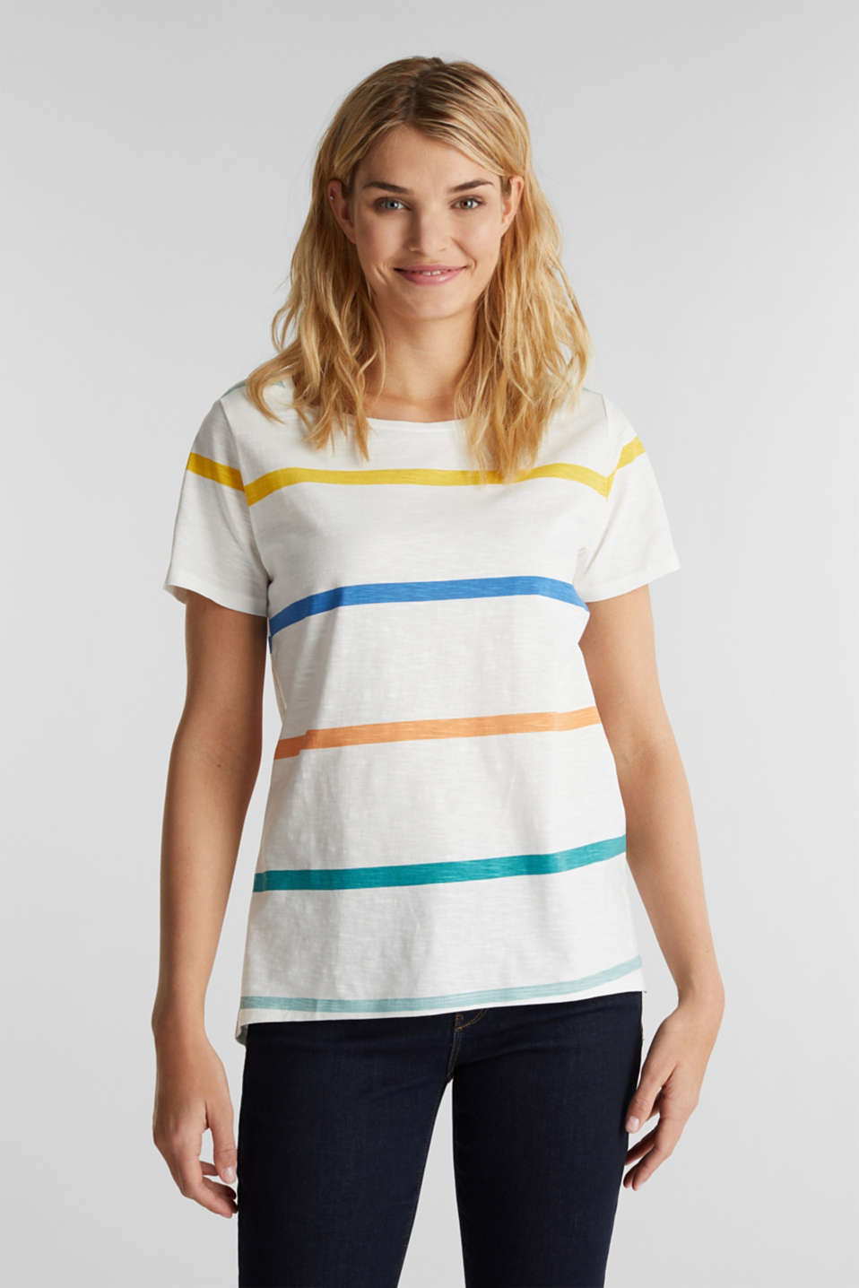 Striped T-shirt, 100% cotton, OFF WHITE, detail image number 4