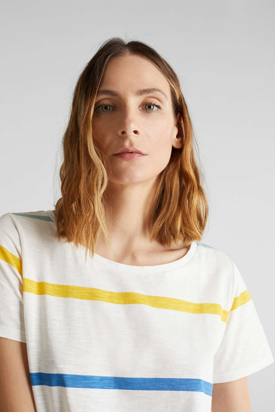 Striped T-shirt, 100% cotton, OFF WHITE, detail image number 5