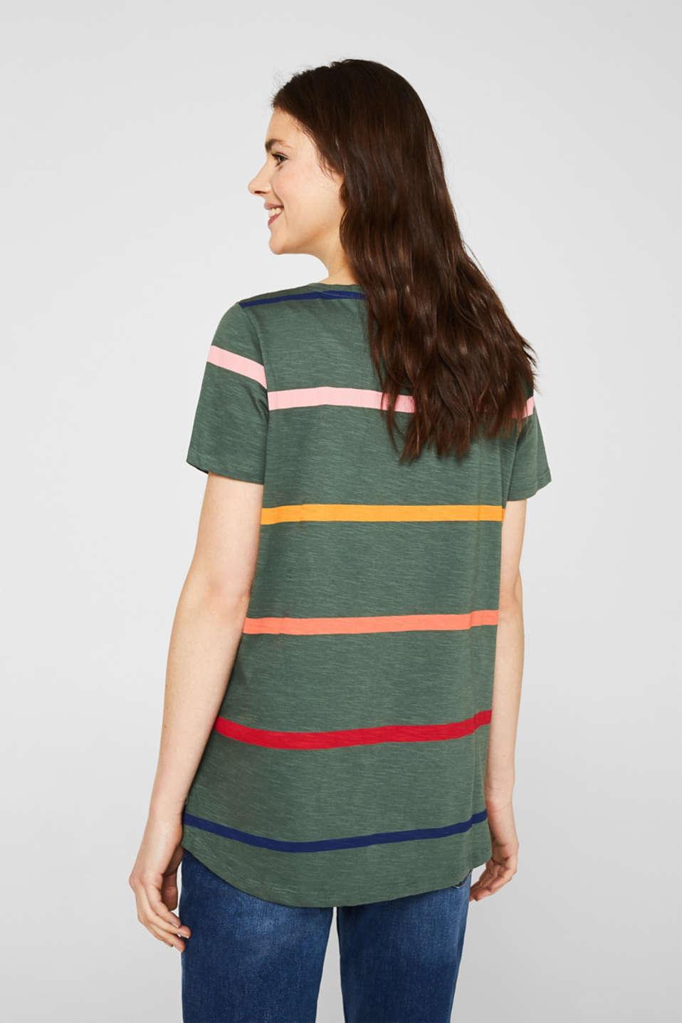 Striped T-shirt, 100% cotton, KHAKI GREEN, detail image number 3
