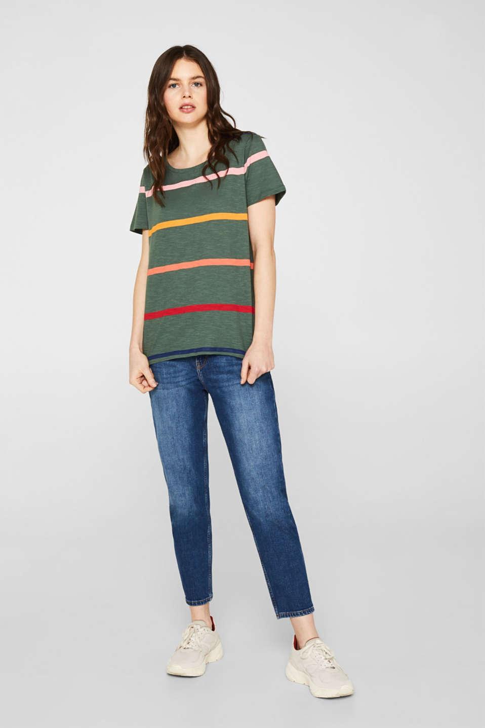 Striped T-shirt, 100% cotton, KHAKI GREEN, detail image number 1
