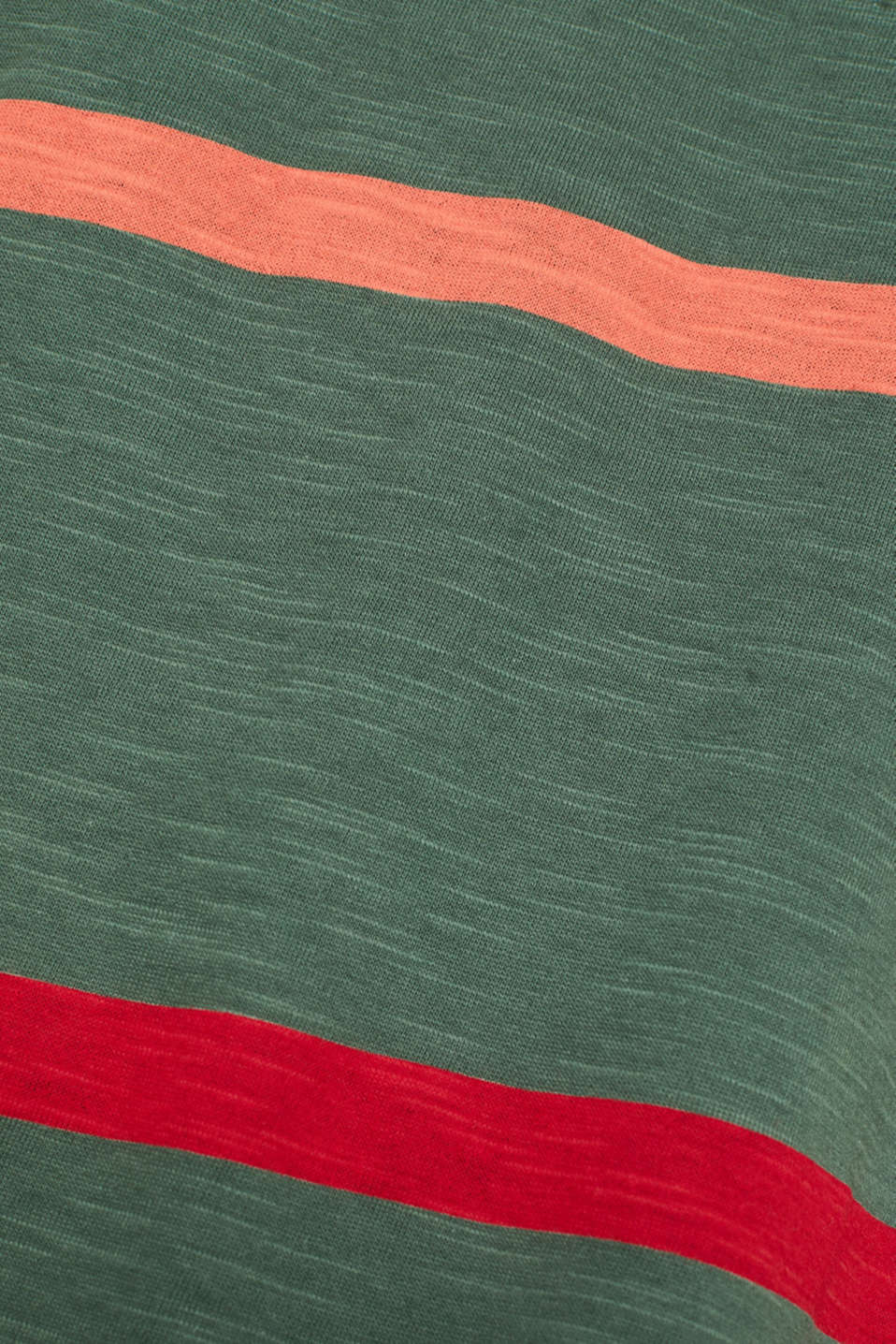 Striped T-shirt, 100% cotton, KHAKI GREEN, detail image number 4