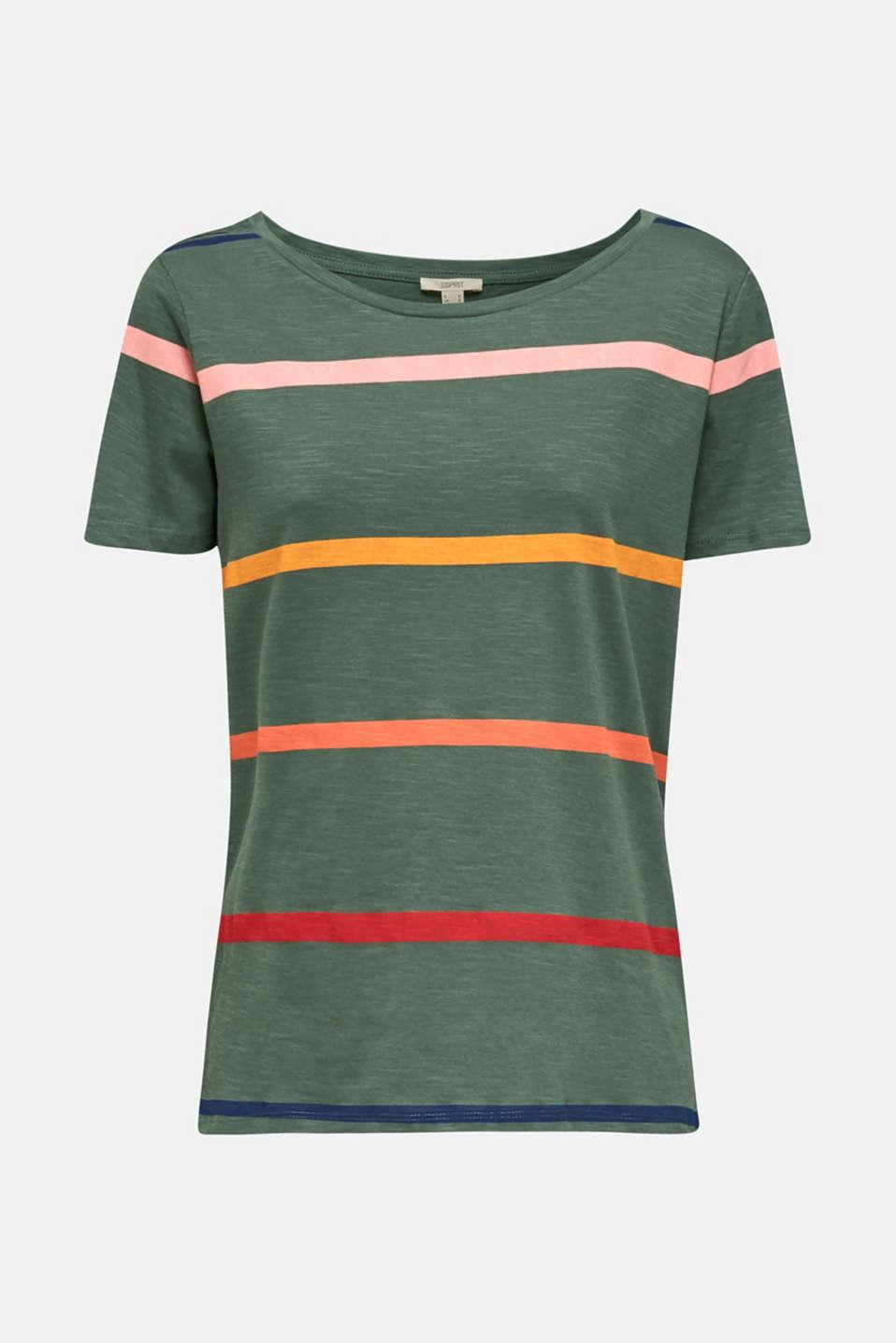 Striped T-shirt, 100% cotton, KHAKI GREEN, detail image number 5
